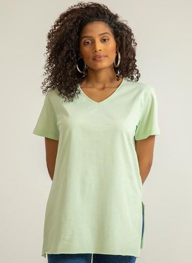 Foremia V Yaka Basıc T-Shirt Yeşil